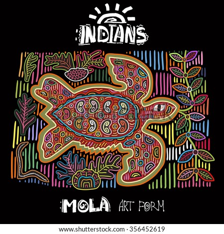 Vector Ethnic Design Element. Indians. MOLA Art Form. Mola Style Turtle. Ethno Bright Decorative Illustration.