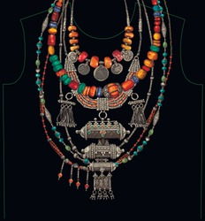 Vector ethnic necklaces t-shirt black background