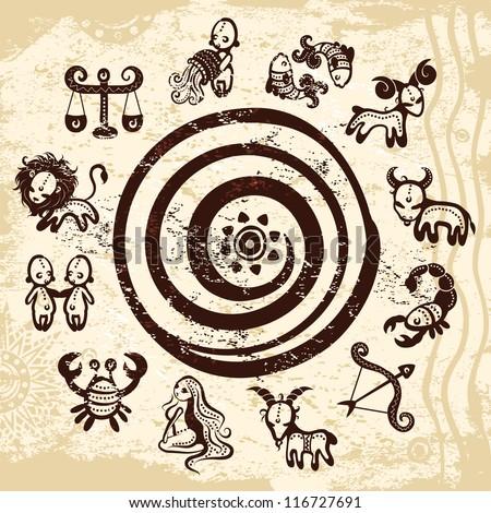 vector ethnic zodiac star on