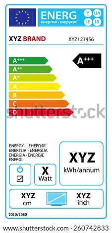 Vector EU energy rating label - TV