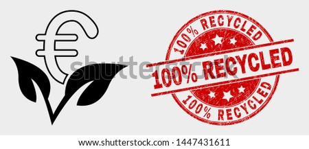 Vector euro startup sprout icon and 100% Recycled seal stamp. Red rounded scratched seal stamp with 100% Recycled text. Vector composition for euro startup sprout in flat style.