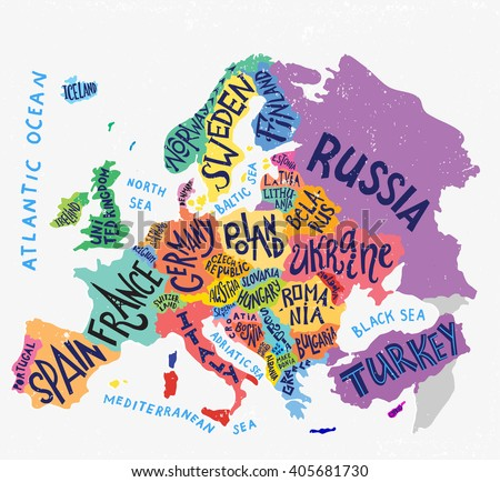 vector europe map decorative typography poster with all european countries unique lettering design for