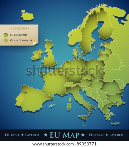 Vector Europe map with European Union (EU) countries - great decoration design element for a professional website, brochure, banner, creative art work, etc. - stock vector