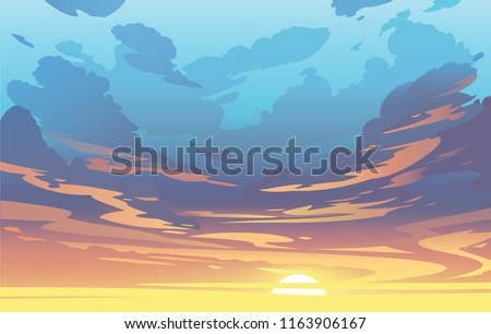 Vector evening sky clouds. Sunset. Background design