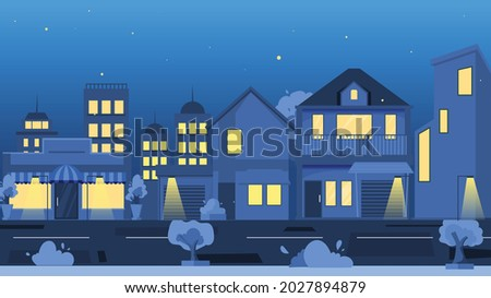 vector evening sky with city