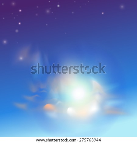 vector evening sky with halo