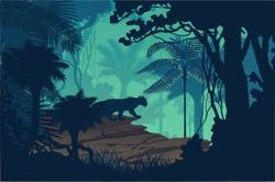 Vector evening tropical rainforest Jungle background with jaguar