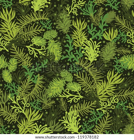 Vector Evergreen christmas tree seamless pattern background with hand drawn pine tree branches
