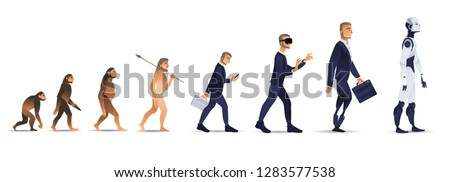 Vector evolution concept with ape to cyborg and robots growth process with monkey, caveman to businessman in suit wearing VR headset, artificial legs person and robotic creature. Mankind development