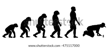 Vector evolution people silhouette on white background