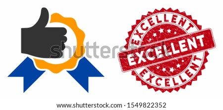 Vector excellent icon and distressed round stamp seal with Excellent caption. Flat excellent icon is isolated on a white background. Excellent stamp seal uses red color and dirty surface.