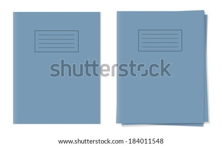 Vector exercise books ,single and free in stack blue cover