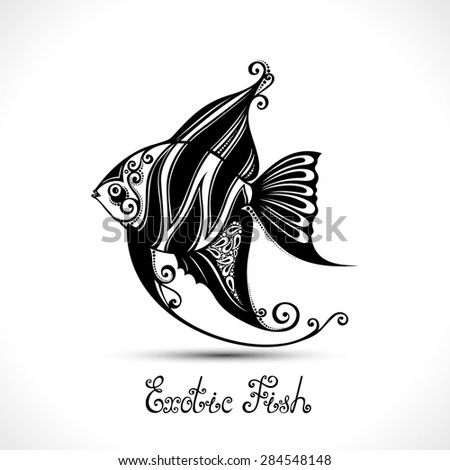 vector exotic fish patterned