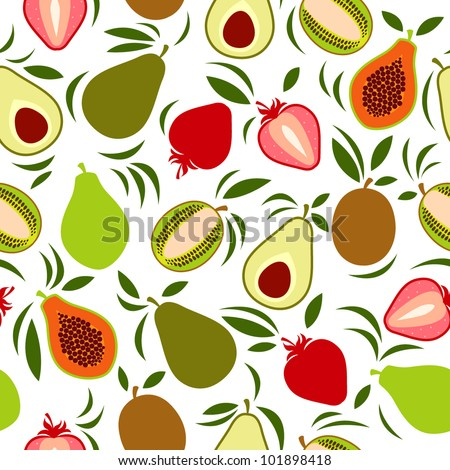Vector exotic fruits pattern
