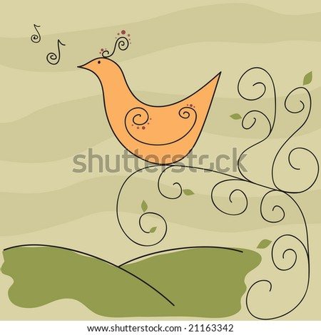 Vector exotic retro songbird on swirly vine / tree with music notes