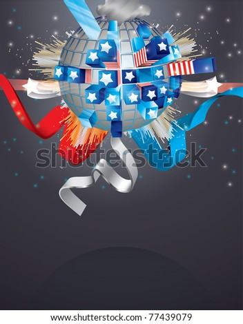 Vector Exploding Sphere with American symbols