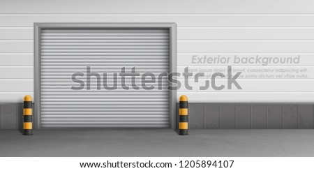 Vector exterior background with closed garage door, storage room for car parking. Warehouse entrance with roll shutters, hangar for repair service with metal doorway, concept illustration