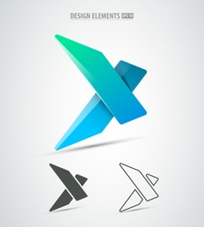 Vector extreme sports corporate identity logo icon design. Simple and clean x letter.