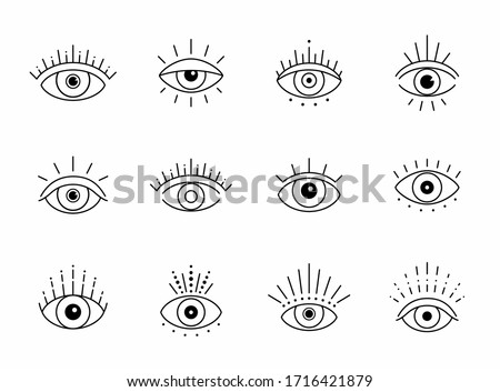 Vector eye boho design. Outline eyes symbols, tattoo design