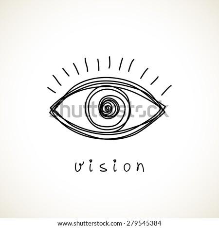 Vector eye icon. Hand drawn logo design template. Simple illustration for print, web