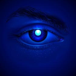 Vector eye of cyborg. Bright laser inside an artificial iris. Realistic details. Right eye of the futuristic AI character with a dark blue skin. Night hypnotic look. Sci-fi or mystical poster.