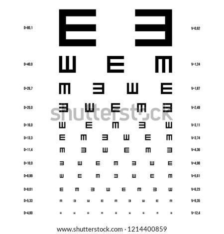 Vector eye test chart. Optometrist check medical diagnostic.
