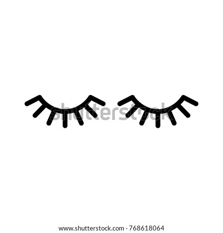 Vector eyelashes. Closed eyes. Vector icon. Cute design