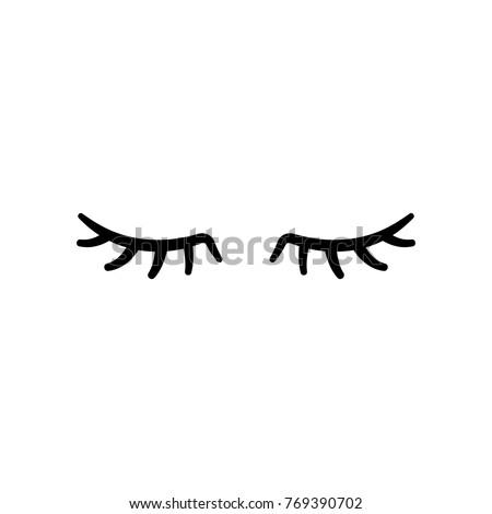 vector eyelashes. closed eyes....