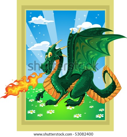 vector fabulous magical green fire-spitting dragon on fairytale landscape