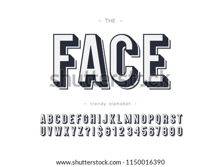 Vector face font bold style for logo, decoration, party poster, t shirt, book, greeting card, sale banner, printing on fabric. Cool alphabet 3d modern typography. Trendy typeface. 10 eps