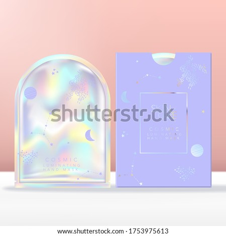 Vector Face, Hand or Foot Mask with Holographic Pouch, Sachet or Packet Packaging. Paper Sleeve with Holographic Foiling.