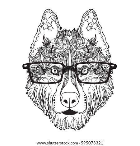 vector face of dog with glasses