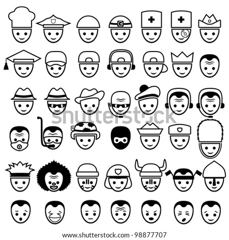 Vector faces. Icons set.