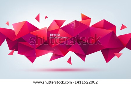 Vector faceted 3d crystal red shape, banner. Triangle geometric background, horizontal orientation