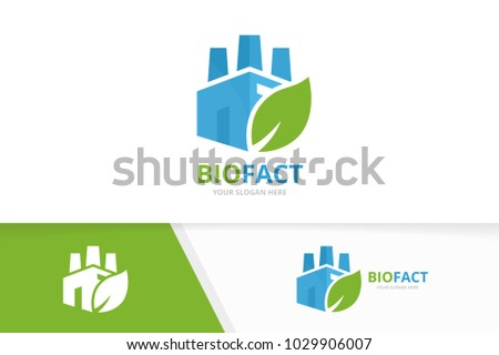 Vector factory and leaf logo combination. Industry and eco symbol or icon. Unique manufacturing and organic logotype design template.