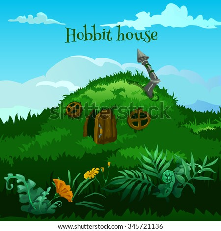 vector fairy hobbit house in