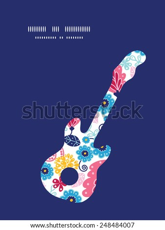vector fairytale flowers guitar