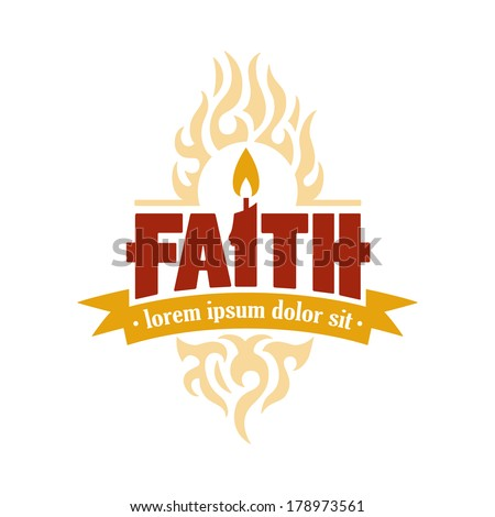 vector faith candle to flame