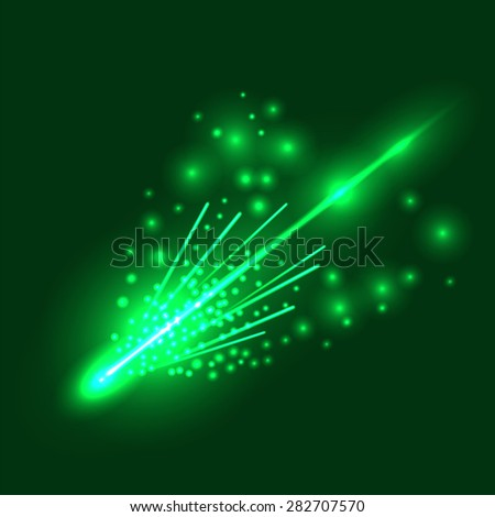 vector falling green meteorite