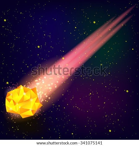 vector falling orange meteor on