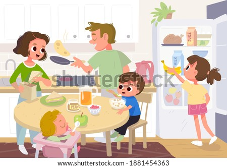 Vector. Family having breakfast in the kitchen. Mother feeding kids. Father cooking pancakes. Whole family, all members together at home in the kitchen in house interior. Refrigerator,fridge with food.