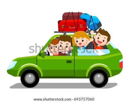 Vector Family Traveling Together, On Vacations, Holiday, Trip, By  Driving Car, Transportation Foto stock ©