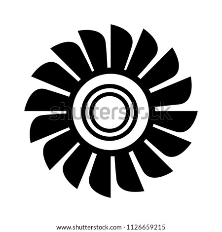 vector fan engine illustration isolated. jet turbine power silhouette - high technology