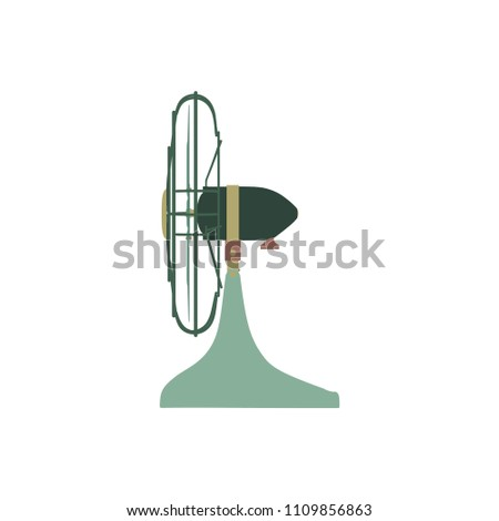 Vector Fan green electric front view design style. Circle symbol blower ceiling graphic element ventilation blade icon. Wind airflow silhouette air sign. Portable modern illustration retro hot vintage