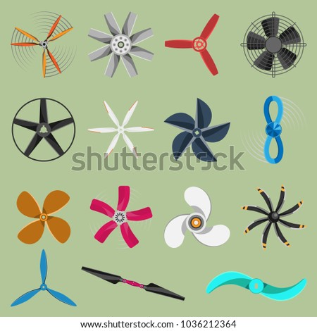 Vector fans propellers icons isolated object. Propeller fan icons cool ventilation ship symbol retro cooler boat equipment. Ventilator symbol wind equipment propeller fan icons