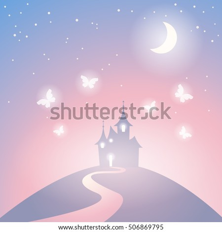 Vector fantasy castle silhouette on the hill. Fairy tale castle. Illustration of mysterious night landscape.