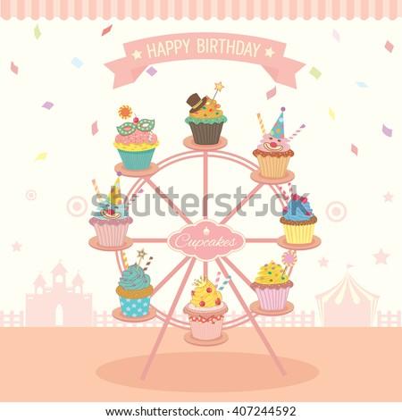 vector fantasy cupcakes