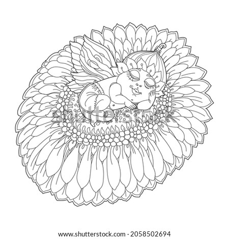 vector fantasy pixie baby with