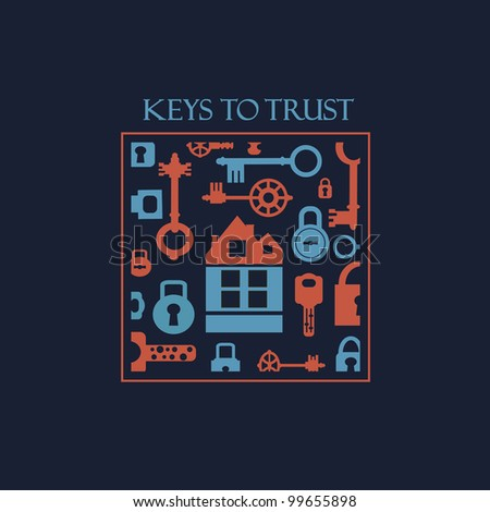 Vector fantasy with elements of keys and locks.Can be used for t-shirts.