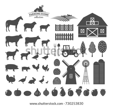 Vector farm and farming icons and design elements.